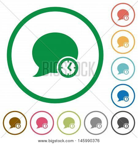 Set of blog comment time color round outlined flat icons on white background