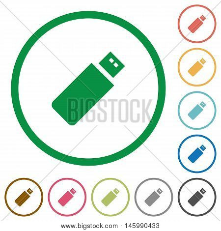 Set of pendrive color round outlined flat icons on white background
