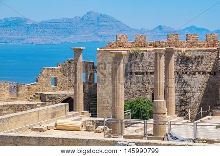 View of Acropolis in Lindos and Vliha bay. Rhodes Island Dodecanese Greece