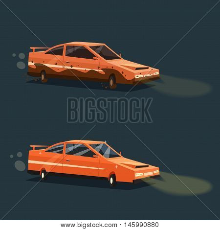 Dirty and clean car. American automobile. Cartoon vector illustration. Dirt and shining clean car isolated. Night road. Race. Fast transport