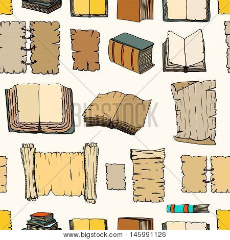 Seamless pattern of Hand Drawn Illustrations of Big Set Books manuscripts. Doodle vector illustration isolated on light Colored background.