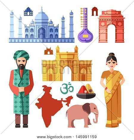 India flat icons with national landmarks for traveling concept. Culture tourism. Vector illustration