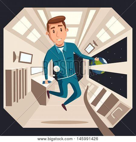 Cosmonaut in zero gravity. Vector cartoon illustration. Astronaut character in flight. Interstellar spaceship. Interior of spacecraft