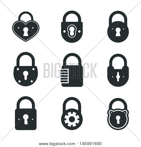 Lock icons. Vector locks and padlocks black pictograms. Privacy, web protection, safety and security signs