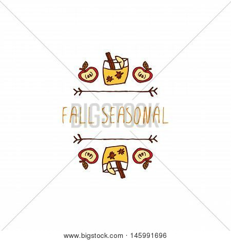 Hand-sketched typographic element with apple, apple cider and text on white background. Fall seasonal