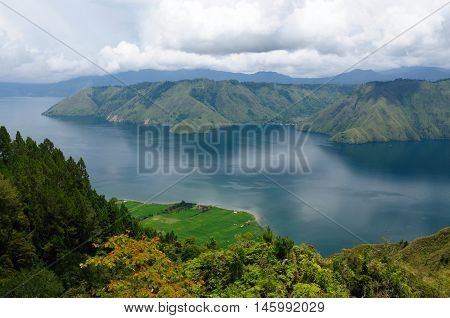 Indonesia North Sumatra View from the Samosir island on the Danau Toba (Toba lake)
