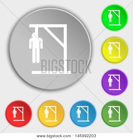 Suicide Concept Icon Sign. Symbol On Eight Flat Buttons. Vector