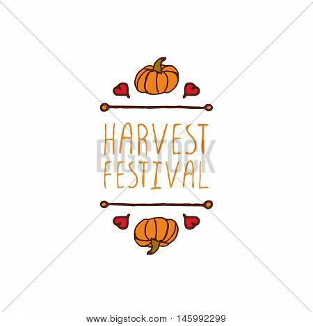 Hand-sketched typographic element with pumpkin, maple leaves and text on white background. Harvest festival