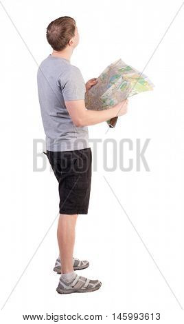 Back view of  journey  young man looking at the map. Rear view people collection.  backside view of person. man in outdoor activities. Isolated over white background. dressed for summer tourists