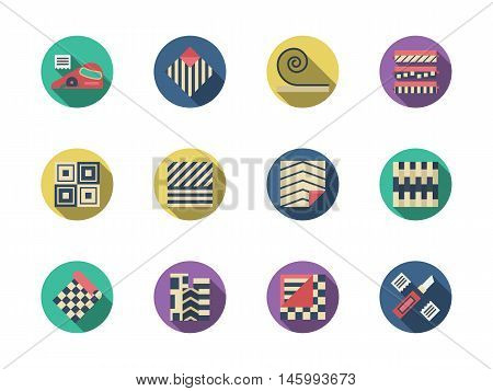 Signs for floor material. Items for construction, repair work and renovation with linoleum. Set of round flat color design vector icons.