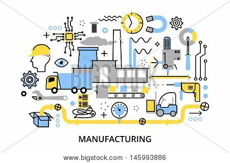 Modern flat editable line design vector illustration concept of plant and manufacturing process for graphic and web design