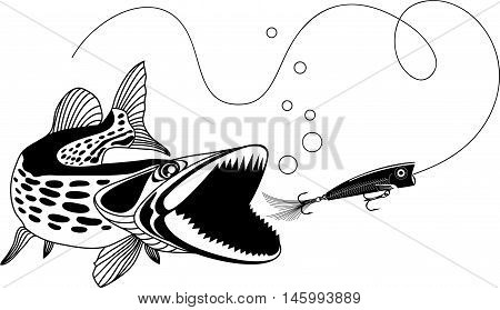 Pike and popper  black and white vector illustration