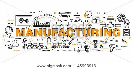 Modern flat editable line design vector illustration concept manufacturing process for graphic and web design