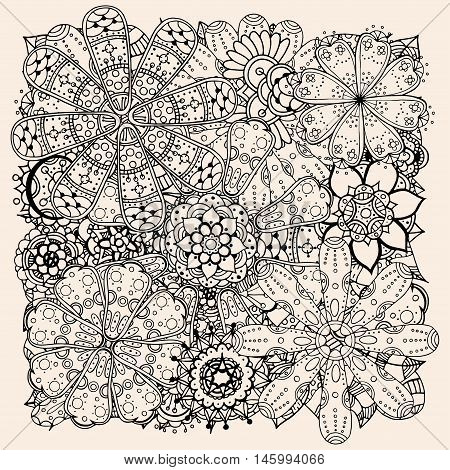 Ethnic floral illustration, doodle background pattern circle in vector. Henna paisley mehndi doodles design tribal design element. Black and beige pattern for coloring book for adults and kids.