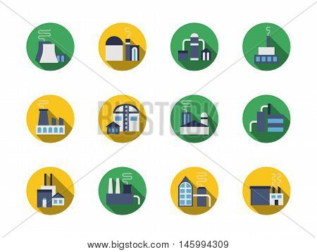 Collection of industrial buildings. Industry architecture, plants and factories. Manufacture facilities, power station and warehouse. Set of round flat color design vector icons.