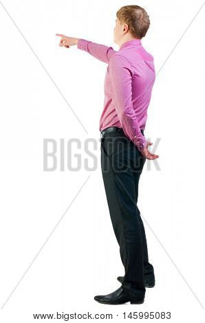Back view of  pointing young business men in  red shirt. blonde businessman  gesture. Rear view people collection.  backside view of person.  Isolated over white background.