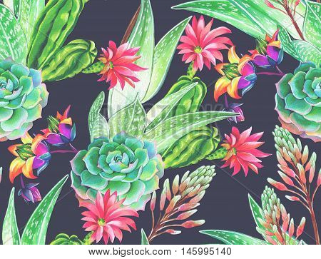 seamless pattern with succulents and cactuses. Blossoming succulents design in watercolor illustration. succulents bouquets for textile, fashion, interior. dark intense colors.