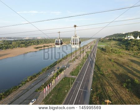 NIZHNY NOVGOROD, RUSSIA AUGUST 21, 2016: Cableway. It connects the city of Nizhny Novgorod and Bor, through the Volga River.
