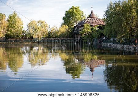 Beautiful Lake With White Swans, Wrought Iron Fence And A Green Garden Flowers And Trees Around. Out