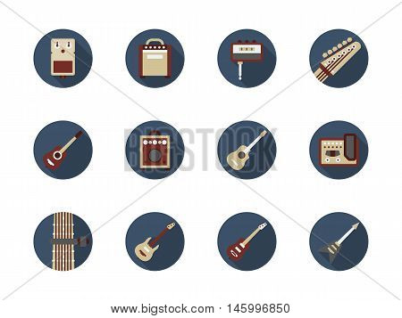 Musical instruments and equipment. Symbols for store of guitar stuff. Tools and accessories for hobby or professional bands. Set of round flat color design vector icons.