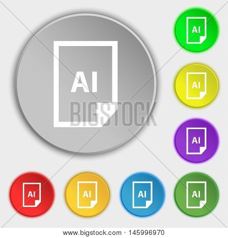 File Ai Icon Sign. Symbol On Eight Flat Buttons. Vector