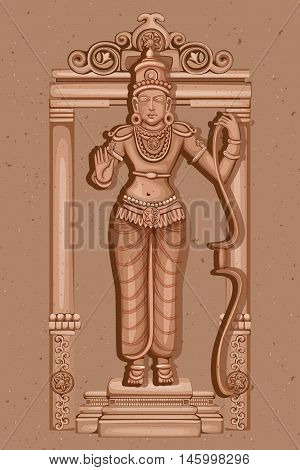 Vector design of Vintage statue of Indian Lord Rama sculpture one of avatar from the Dashavatara of Vishnu engraved on stone