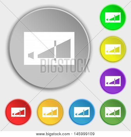 Volume Adjustment Icon Sign. Symbol On Eight Flat Buttons. Vector
