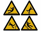 picture of slip hazard  - Caution signs figures falling tripping and slipping - JPG