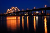 stock photo of memphis tennessee  - Night shot of the bridge to Memphis - JPG