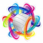 picture of olympiade  - volleyball ball on color background as the concept of an international tournament - JPG