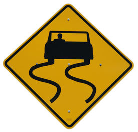 picture of slippery-roads  - slippery when wet sign - JPG