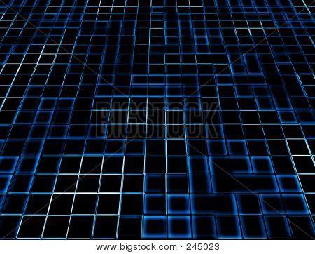 Blue Neon Glowing Tiles