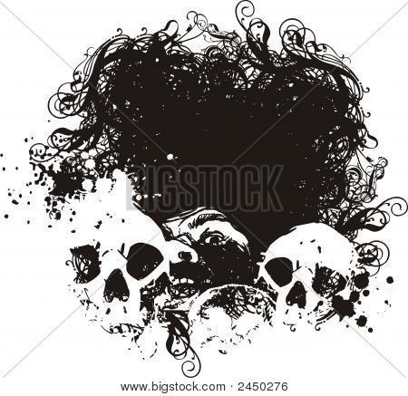 Fear Grunge Skulls Illustration