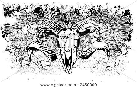 Ram Skull Grunge Illus...