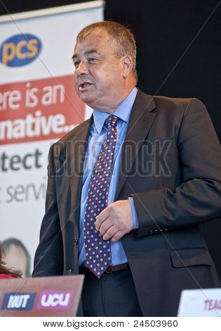 Brendan Barber, General Secretary of the United Kingdom's Trades Union Congress (TUC), speaking at t