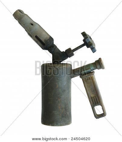 Old Blowtorch On A White Background.