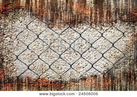 grunge wall broken and iron net