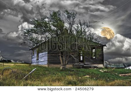 Haunted House Under A Full Moon