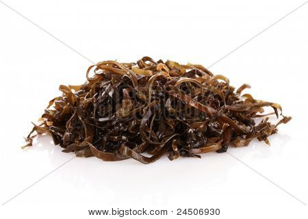 Sliced laminaria isolated on the white background