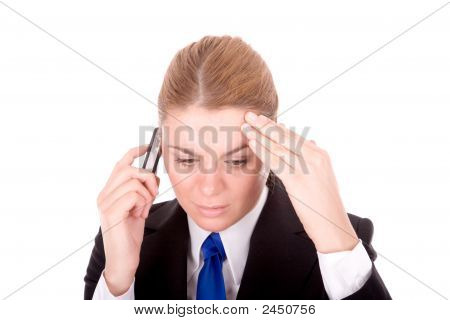 Businesswoman Communication By Mobile Phone Over White Background
