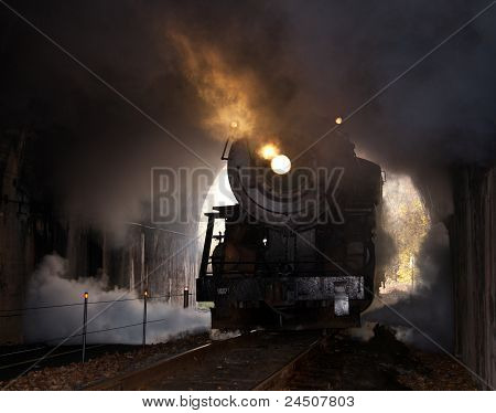 Steam Locomotive Enters Tunnel