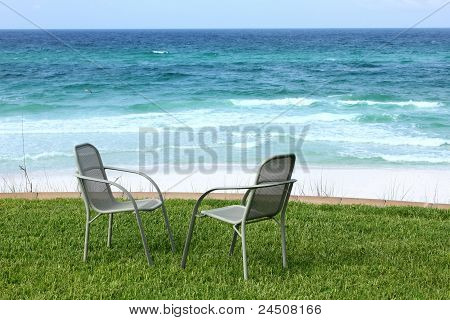 Two Beach Chairs With Ocean View