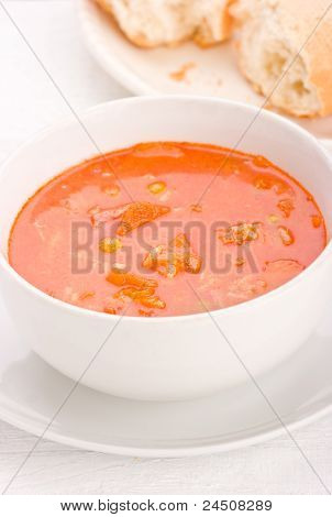 Vegetable Soup With Bread On A Plate.