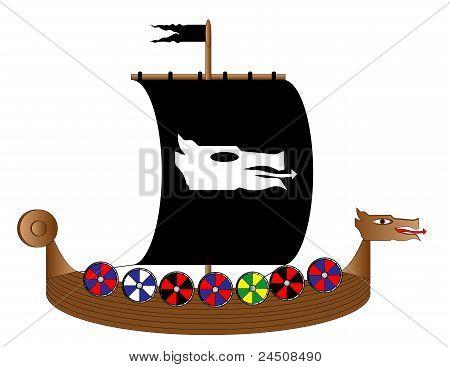 Viking ship on white
