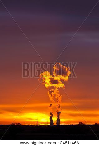 Nuclear Power Plant in Philippsburg at sunset, Germany