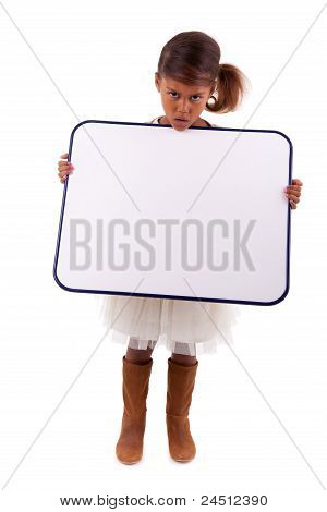 Cute Little African American Girl Holding A Whiteboard