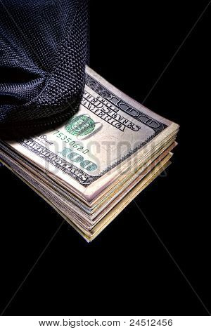 Dollar Bills In Canvas Bag As Corruption Money