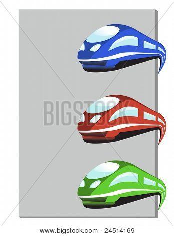 Vector de tren en tres colores