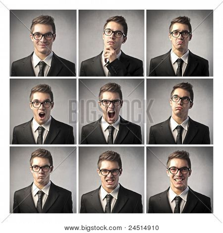 Composition of different expressions of the same businessman