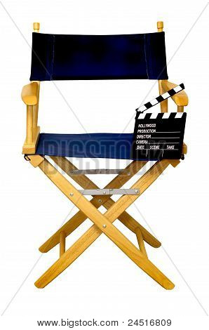 Director's Chair With Clapboard Isolated